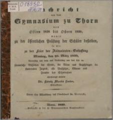 Nachricht von dem Gymnasium zu Thorn von Ostern 1838 bis Ostern 1839