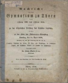 Nachricht von dem Gymnasium zu Thorn von Ostern 1839 bis Ostern 1840