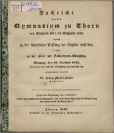 Nachricht von dem Gymnasium zu Thorn von Michaelis 1841 bis Michaelis 1842