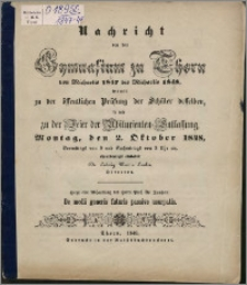 Nachricht von dem Gymnasium zu Thorn von Michaelis 1847 bis Michaelis 1848