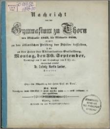 Nachricht von dem Gymnasium zu Thorn von Michaelis 1849 bis Michaelis 1850