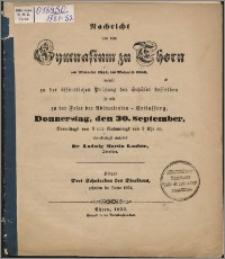 Nachricht von dem Gymnasium zu Thorn von Michaelis 1851 bis Michaelis 1852