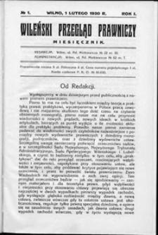 Wileński Przegląd Prawniczy 1930, R. 1 nr 1