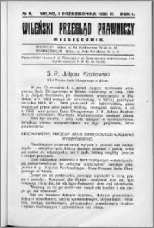 Wileński Przegląd Prawniczy 1930, R. 1 nr 9