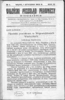 Wileński Przegląd Prawniczy 1933, R. 4 nr 1