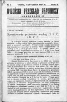 Wileński Przegląd Prawniczy 1934, R. 5 nr 1