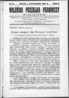 Wileński Przegląd Prawniczy 1934, R. 5 nr 11