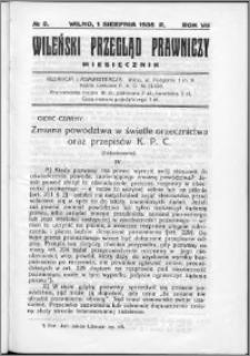 Wileński Przegląd Prawniczy 1936, R. 7 nr 8