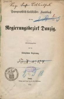 Topographisch-statistisches Handbuch für den Regierungsbezirk Danzig