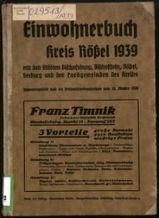 Einwohnerbuch für Kreis Rößel : [mit den Städten Bischofsburg, Bischofstein, Rößel, Seeburg und den Landgemeinden des Kreises] 1939