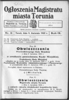Ogłoszenia Magistratu Miasta Torunia 1932, R. 9, nr 11