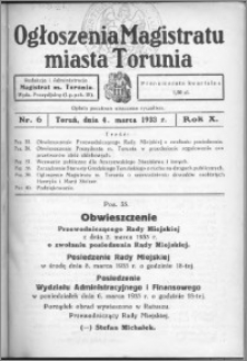 Ogłoszenia Magistratu Miasta Torunia 1933, R. 10, nr 6
