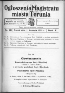 Ogłoszenia Magistratu Miasta Torunia 1933, R. 10, nr 10