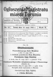 Ogłoszenia Magistratu Miasta Torunia 1933, R. 10, nr 15