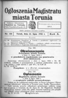 Ogłoszenia Magistratu Miasta Torunia 1933, R. 10, nr 22