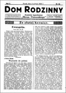 Dom Rodzinny : dodatek tygodniowy Słowa Pomorskiego, 1926.06.03 R. 2 nr 22
