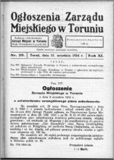 Ogłoszenia Zarządu Miejskiego w Toruniu 1934, R. 11, nr 29