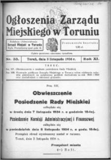 Ogłoszenia Zarządu Miejskiego w Toruniu 1934, R. 11, nr 33