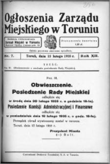 Ogłoszenia Zarządu Miejskiego w Toruniu 1935, R. 12, nr 7