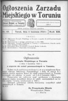 Ogłoszenia Zarządu Miejskiego w Toruniu 1935, R. 12, nr 13