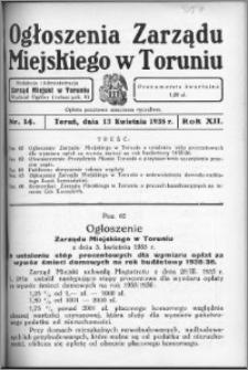Ogłoszenia Zarządu Miejskiego w Toruniu 1935, R. 12, nr 14