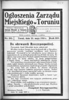Ogłoszenia Zarządu Miejskiego w Toruniu 1935, R. 12, nr 20