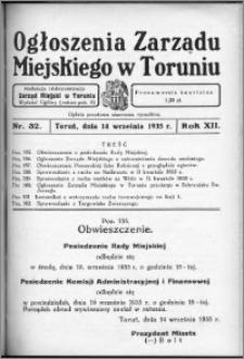 Ogłoszenia Zarządu Miejskiego w Toruniu 1935, R. 12, nr 32
