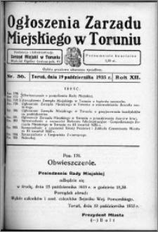 Ogłoszenia Zarządu Miejskiego w Toruniu 1935, R. 12, nr 36