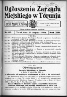 Ogłoszenia Zarządu Miejskiego w Toruniu 1936, R. 13, nr 32