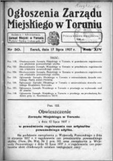 Ogłoszenia Zarządu Miejskiego w Toruniu 1937, R. 14, nr 30