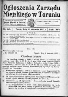 Ogłoszenia Zarządu Miejskiego w Toruniu 1937, R. 14, nr 36