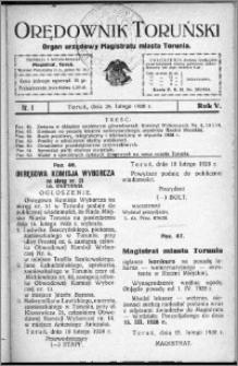 Orędownik Toruński 1928, R. 5, nr 8