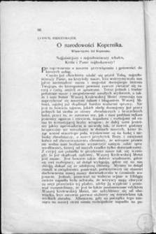 O narodowości Kopernika : własnoręczny list Kopernika