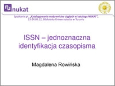 ISSN - jednoznaczna identyfikacja czasopisma