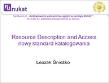 RDA - nowy międzynarodowy standard katalogowania