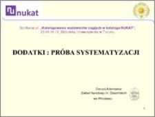 Dodatki - próba systematyzacji