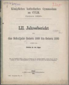 Jahresbericht über das Schuljahr Oster 1889 bis Ostern 1890