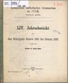 Jahresbericht über das Schuljahr Oster 1891 bis Ostern 1892