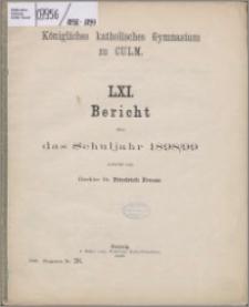 Bericht über das Schuljahr 1898/1899