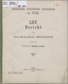 Bericht über das Schuljahr 1902/1903