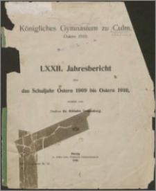 Jahresbericht über das Schuljahr Oster 1909 bis Ostern 1910