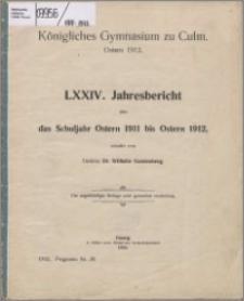 Jahresbericht über das Schuljahr Oster 1911 bis Ostern 1912