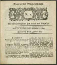 Thornische Wochenschrift 1825, Nro. 2 + Beilage