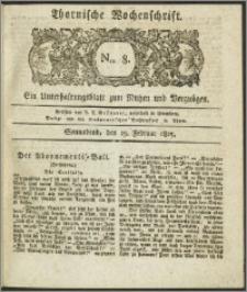 Thornische Wochenschrift 1825, Nro. 8 + Beilage
