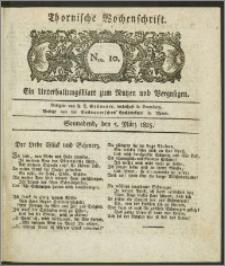 Thornische Wochenschrift 1825, Nro. 10 + Beilage