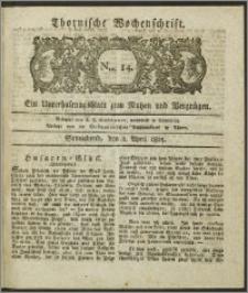 Thornische Wochenschrift 1825, Nro. 14 + Beilage