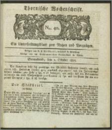 Thornische Wochenschrift 1825, Nro. 40 + Beilage