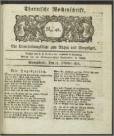 Thornische Wochenschrift 1825, Nro. 42 + Beilage
