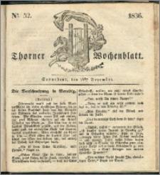 Thorner Wochenblatt 1836, Nro. 52 + Beilage, Thorner wöchentliche Zeitung