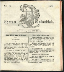 Thorner Wochenblatt 1838, Nro. 12 + Beilage, Thorner wöchentliche Zeitung